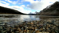 Time lapse shot of beautiful mountain lake scenery