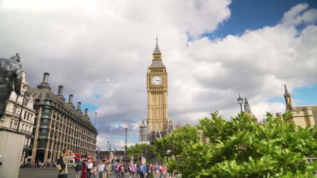 Time lapse shot of Big Ben from Parliament Square.