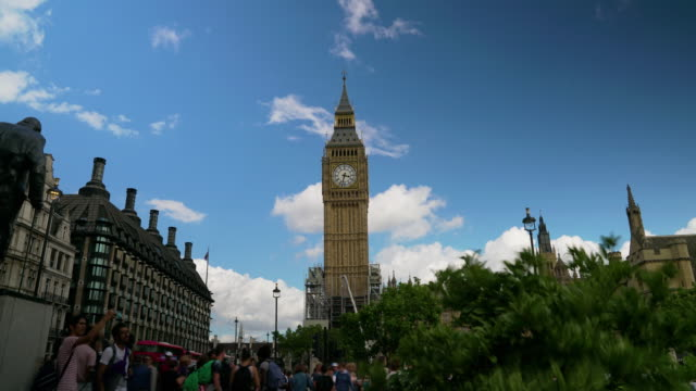 Time lapse shot of Big Ben taken from Parliament Square.