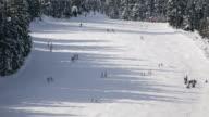 Time lapse shot of people skiing down slope at Gosau ski resort / Dachstein-West, Austria