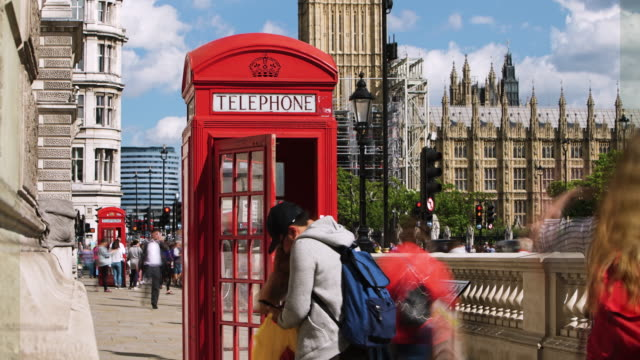 Time lapse shot on a phone box on Parliament Square.