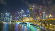 Tijd lapse Singapore stadsgezicht en mensen lopen in Singapore City