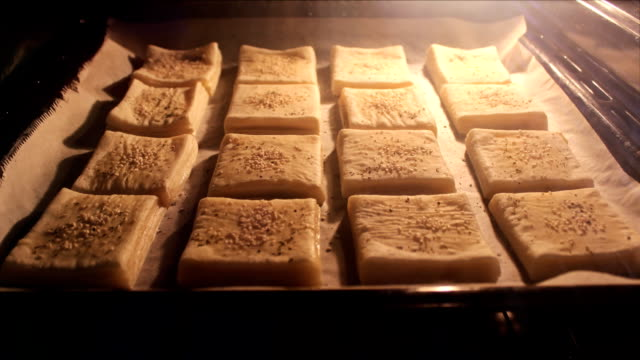 time lapse small muffins puff pastry in the kitchen oven