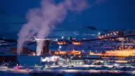 4K Time Lapse : Smoke From Factories In Kiruna, Sweden