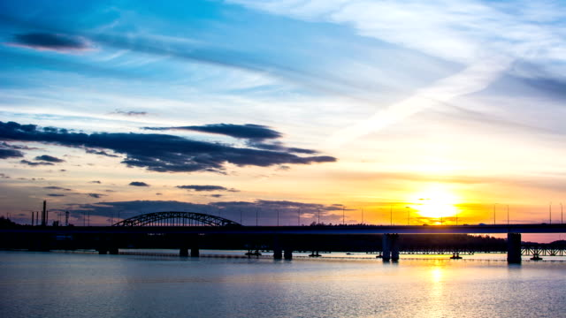 HD Time Lapse: Sunset and Bridge
