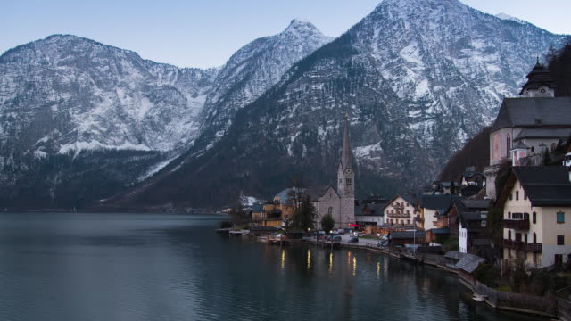 4K UHD - Time Lapse - sunset and light up at Hallstatt village , Austria