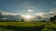 4K Time lapse : Sunset in rice field with clouds at Thailand.