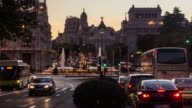 MADRID - CIRCA 2013: Time lapse sunset of Calle de Alcalá, Alcala Street with traffics