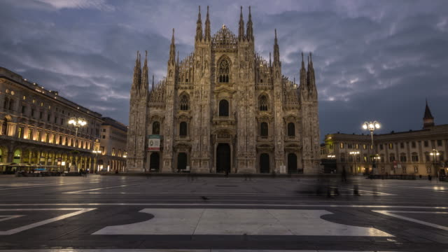 Time Lapse: The Duomo of Milan Cathedral in Milan, Italy.