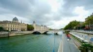 time lapse the Seine river, Paris city, France