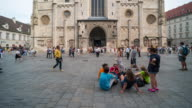 Time Lapse, Tourist waking at St. Stephen's Cathedral, Vienna