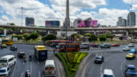 Time Lapse - Traffic at victory monument in Bangkok city with zoom shot