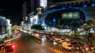 HD Time lapse : Traffic jam at MBK shopping center Bangkok Thailand
