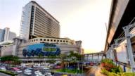 Time lapse : Traffic jam at MBK shopping center Bangkok Thailand