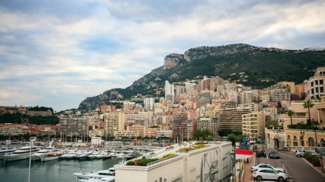 4K Time Lapse : View in harbor of Monaco