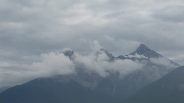 Time lapse view of mountains and storm clouds