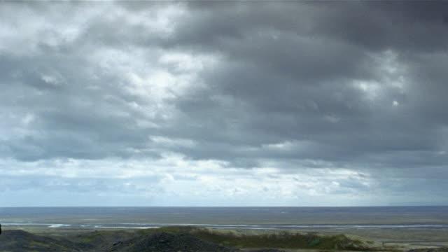 Time lapse wide shot storm clouds moving over landscape / Iceland