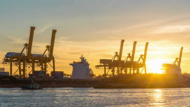 Time Lapse : Working cargo port in the early dawn