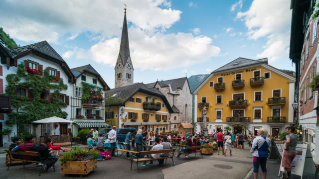 Time Lapse,Crowd waking at Hallstatt town centre, Austria