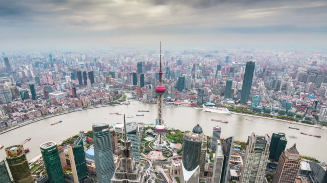 Time Lapse-Elevated view of  shanghai skyline
