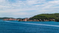 Time lapseHyper lapse shot from anchored Ship at Korcula
