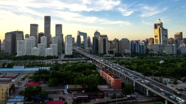 Time Lapse-Night on Beijing Central Business district buildings skyline