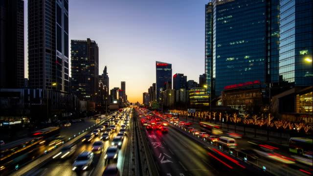 Time Lapse-Urban highway traffic at night in beijing Cbd