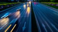 Time Lapse-Urban highway traffic at night