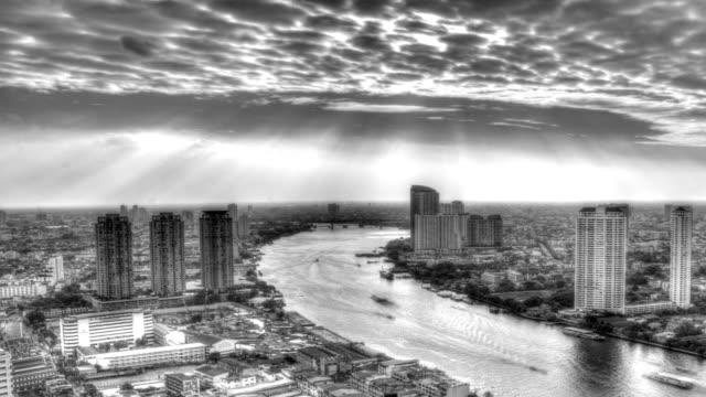 Time Lapse,Urban scene Black and white