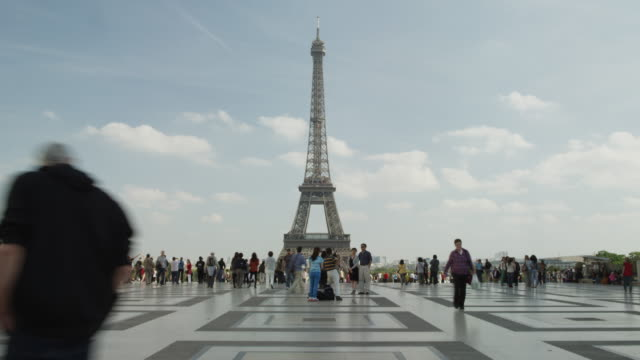 Time lapse/wide shot of tourists near the Eiffel Tower / Paris, France