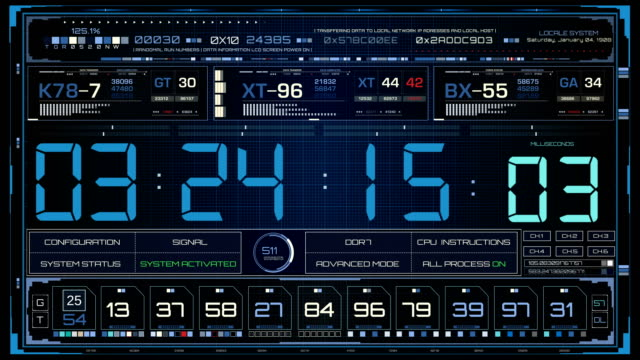 HUD Timecode Interface. Sci-fi conceptual background in futuristic style