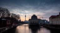 4K Timelaps :Spree River and Alexanderplatz TV Tower, Timelapse Video, Berlin, Germany