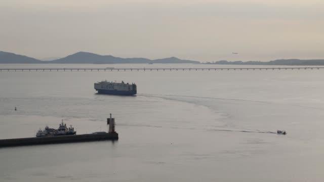 Timelapse a Hyundai Glovis Co rollon/rolloff cargo ship sails near the Port of Incheon in Incheon South Korea on Monday Sept 4 2017