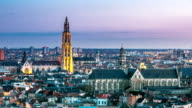 HD time-lapse: Aerial Antwerp ancient town Belgium sunset