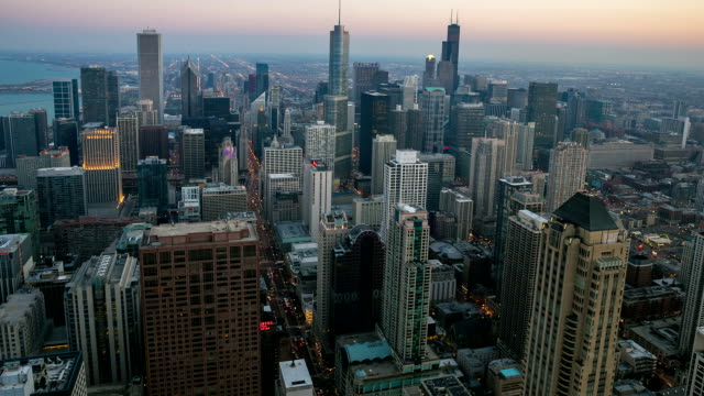 HD Time-lapse: Aerial Chicago Skyline Cityscape at dusk USA