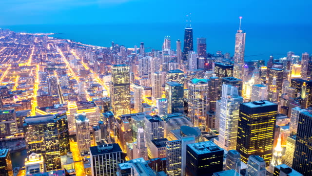 HD Time-lapse: Aerial Chicago Skyline Cityscape at dusk, USA