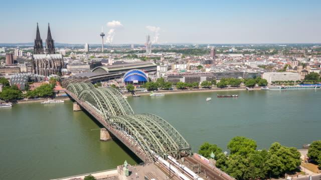 4 K Zeitraffer: Luftaufnahme der Kölner Dom und Hohenzollernbrücke Deutschland