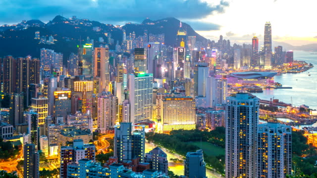 HD Time-lapse: Aerial Hong Kong Skyline Cityscape at dusk
