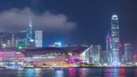 Zeitraffer: Aerial Hong Kong Skyline Stadtbild in der Abenddämmerung, kippen Sie Video.