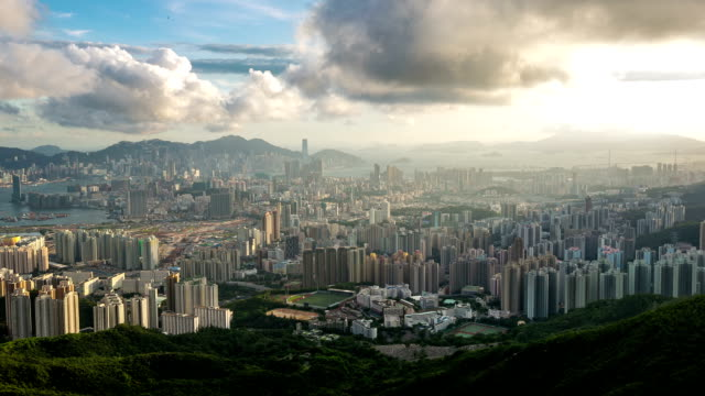 HD Time-lapse: Aerial Hong Kong Skyline Kowloon Cityscape Sunset