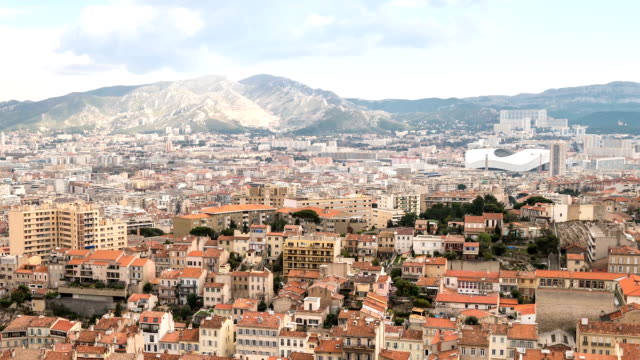 HD Time-lapse: Aerial Marseille city with old Vieux Port