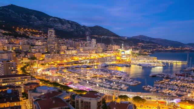 Time-lapse: Aerial Monaco Monte Carlo harbour french riviera night