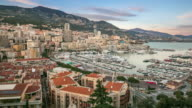 Time-lapse: Aerial Monaco Monte Carlo harbour french riviera sunset