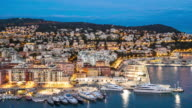4K Time-lapse: Aerial Nice Marina Port French Riviera France night