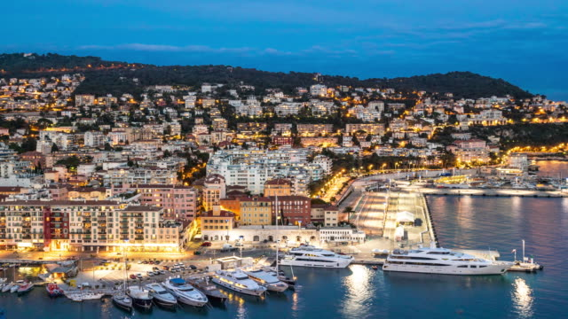 Time-lapse: Aerial Nice Marina Port French Riviera France night