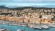 Time-lapse: Aerial Nice Marina Port French Riviera France sunset
