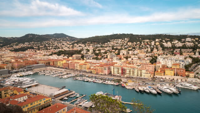 Time-lapse: Aerial Nice Marina Port French Riviera France
