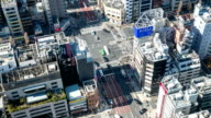 HD Time-lapse: Aerial Pedestrians cross at Tokyo downtown Crossing