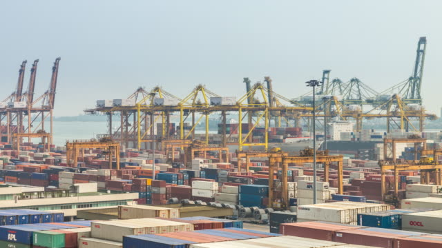 4K time-lapse: aerial shot warehouse Port background in Singapore