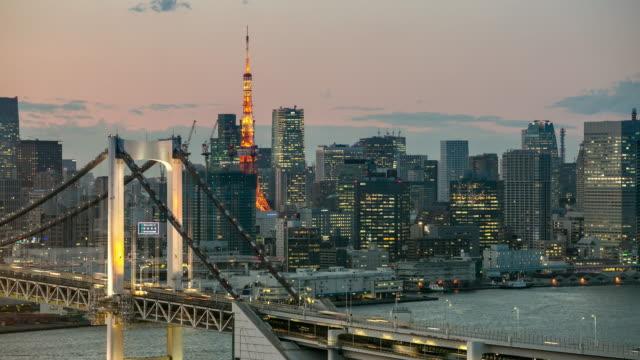 4K Time-lapse: Aerial Tokyo Rainbow bringe at dusk